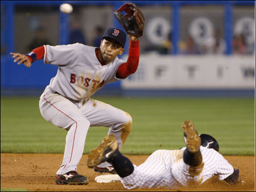 Alex Rodriguez (right) slid into to second before Red Sox shortstop Julio Lugo (left) could apply the tag in the third inning.