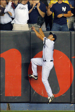 Yankees left fielder Johnny Damon couldn't come down with the solo home run off the bat of Jason Varitek in the seventh inning.