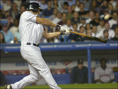 Johnny Damon connected on a deep fly to right field in the seventh inning.