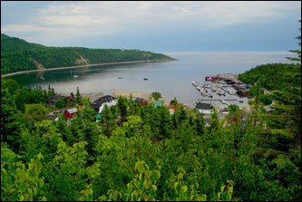 The view from nearby cliffs shows tiny Tadoussac, Quebec, ringing a pocket harbor on the St. Lawrence River.