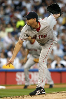 Josh Beckett delivered a pitch in the first inning.