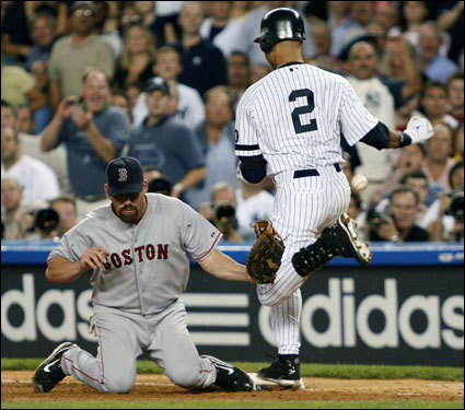 Red Sox first baseman Kevin Youkilis knelt for the scoop as Derek Jeter beat out an infield single in the second inning.