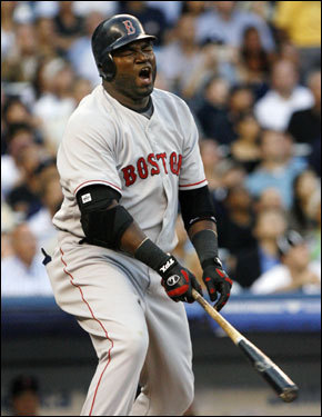 David Ortiz reacted to popping out in the first inning.