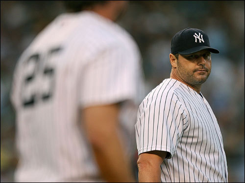 Roger Clemens acknowledged Yankee first baseman Jason Giambi after Giambi's diving play at first base in the first inning.