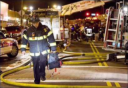 More than 100 firefighters responded to a fire at a West Roxbury restaurant last night. A 3-ton air-conditioning unit partially crashed through the roof.