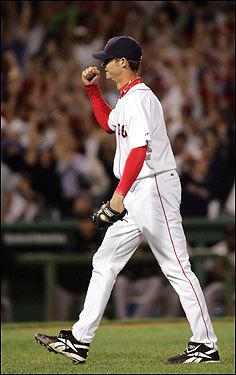 Buchholz pumps his fist, seemingly in disbelief, as he walks toward catcher Varitek to celebrate the big win.