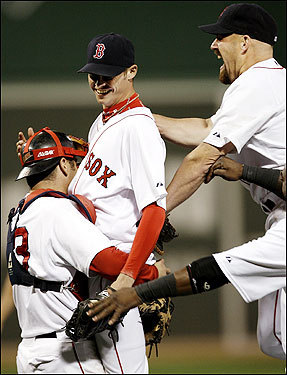 Boston Red Sox pitcher Clay Buchholz was hoisted up by catcher Jason Varitek after Buchholz pitched a no-hitter against the Baltimore Orioles at Fenway Park last night, putting the perfect touch on a 10-0 victory.