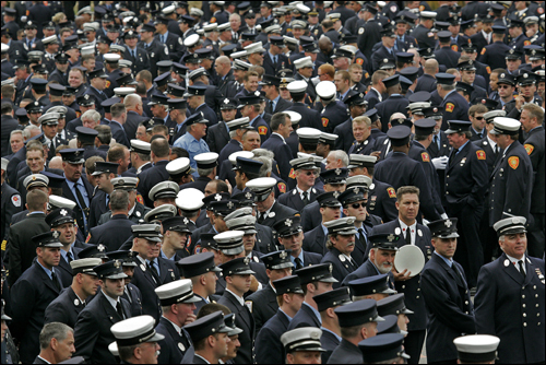 Thousands of firefighters from around the country gathered for the funeral.