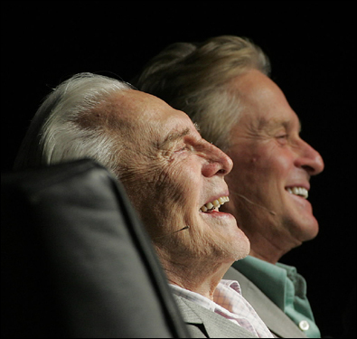 Kirk and Michael Douglas shared a laugh during opening show ceremonies at the AARP National Event and Expo in Boston.