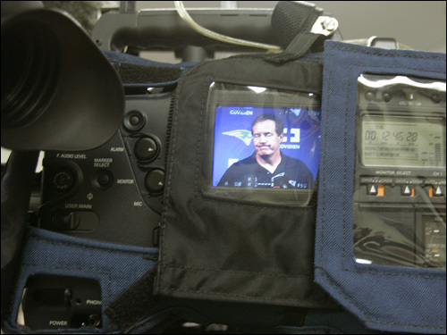 A view of Belichick from a TV camera.