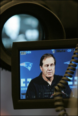 Belichick answers questions from the media.