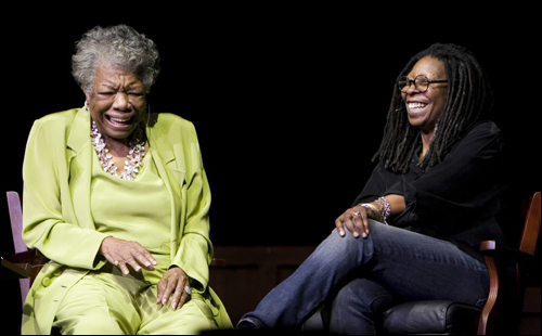 Maya Angelou (left) and Whoopi Goldberg talked at the AARP National Convention in Boston.