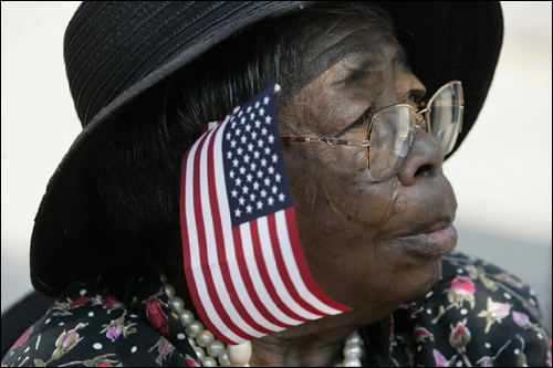 Elsie Butler, 79, waited outside United House of Prayer for All People during the wake for Boston Firefighter Warren J. Payne.