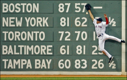 Jacoby Ellsbury scaled the Green Monster, but couldn't snag the hit by Greg Norton of the Tampa Bay Devil Rays. Norton would eventually come around to score the first run of the game.