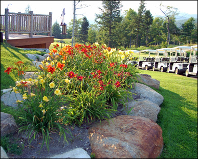 A lovely rock garden outside the clubhouse at Sunday River Golf Club.