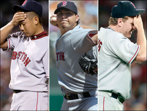 The Sox have ostensibly their three best pitchers - Daisuke Matsuzaka, 18-game winner Josh Beckett, and Curt Schilling - lined up to face the Yankees, just as they did in New York when they were swept. None of the three has good numbers against the Yankees this season: Matsuzaka is 2-1 with a 6.98 ERA, Schilling is 0-2 with a 5.76 ERA and has given up eight home runs in 25 innings, and Beckett is 1-1 with a 5.49 ERA.