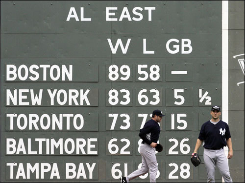 The Green Monster scoreboard shows the AL East standings prior to the series opener between the Red Sox and Yankees.