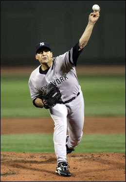 Yankees starter Andy Pettitte delivered a pitch in the first inning.