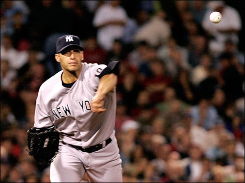 Andy Pettitte threw to first base in the first inning.