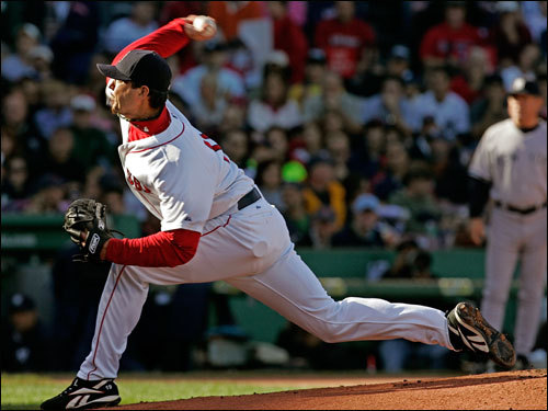 Josh Beckett got Johnny Damon to ground out for the first out in the inning.