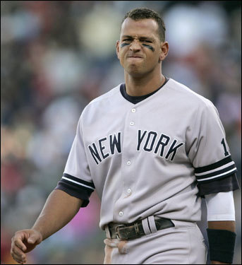 Alex Rodriguez reacted after striking out to end the third inning.