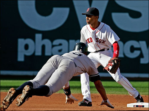 Alex Rodriguez (left) slid safely into second base as Julio Lugo (right) waited for the throw in the first.
