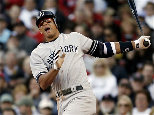 Alex Rodriguez reacted to fouling a ball off of his leg in the third inning.