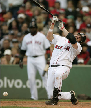 Red Sox first baseman Kevin Youkilis was drilled in the forearm during the fifth inning.