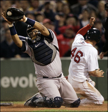 Red Sox rookie Jacoby Ellsbury (46) scored on teammate Mike Lowell's (not pictured) RBI single in the first inning.