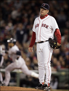 Curt Schilling reacted after giving up a solo home run to Robinson Cano.