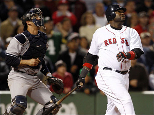 David Ortiz popped up a pitch from Yankees closer Mariano Rivera (not pictured) with the bases loaded in the bottom of the ninth.