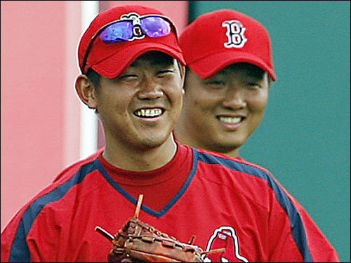 Boston's two Japanese pitchers -- Daisuke Matsuzaka and Hideki Okajima -- have each struggled over the last month or so amid talk that they're out of gas after a major league season that is longer than they're used to. Matsuzaka has an 11.20 ERA in September and Okajima's is at 11.57 over that span. Right now, Dice-K is lined up to pitch Game 2 of the ALDS. Does that make you comfortable?