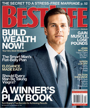 Editors say Brady is an eager participant in photo shoots. 'He knows his light, he knows his angle. He has a certain amount of trust with the photographer,' says John Mather, the fashion director of Best Life, who arranged the August 2007 spread, which features Brady in a new line of Tom Ford clothes.