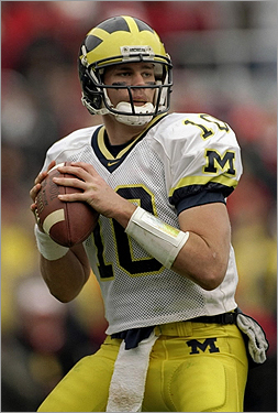 Unheralded as a college quarterback at Michigan, Tom Brady became a sixth-round pick of the Patriots. Here he was wearing number 10 during a Michigan vs. Ohio State game in 1998.