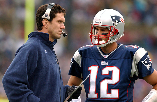 Brady's opportunity came when starting quarterback Drew Bledsoe (left) went down with an injury in the 2001 season.