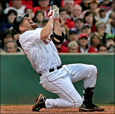 Red Sox first baseman Kevin Youkilis reacted after being hit by a fifth-inning pitch from Chien-Ming Wang Saturday. It was the 15th time Youkilis was hit by a pitch this season, the highest number on the team.