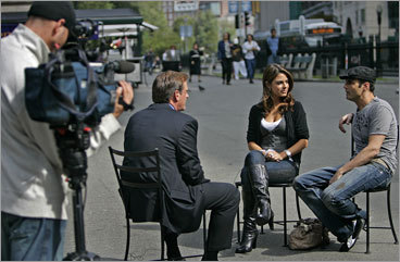Menounos and filmmaker/director Kevin Undergaro are interviewed by Gene Lavanchy of FOX TV at Boston Common.