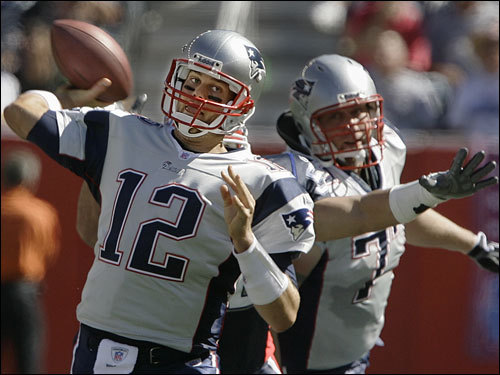 Tom Brady dropped back to throw a pass in the first half.