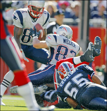 To continue the play, Welker lateraled the ball to a surprised Randy Moss, who took the ball and went down the sidelines for some extra yardage.
