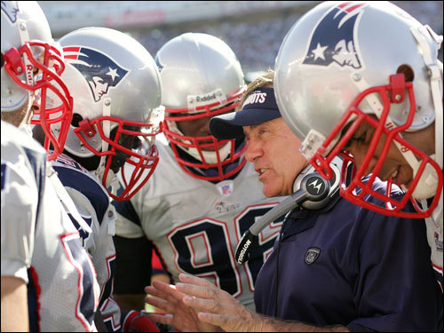 Bill Belichick talked with his defense in the third.