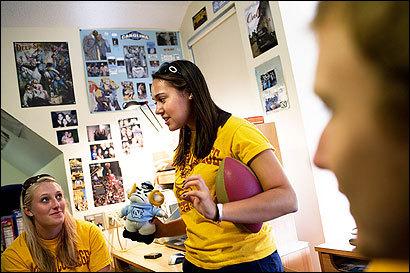 Southern-bred BC freshmen Nadia Hoekstra (center), of Chapel Hill, N.C., Lauren Jackson (left), originally of Chapel Hill, and Sam Prendergast, of McLean, Va.