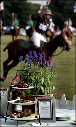 A reserved table awaits diners at a Newport International Polo Series match at Glen Farm.