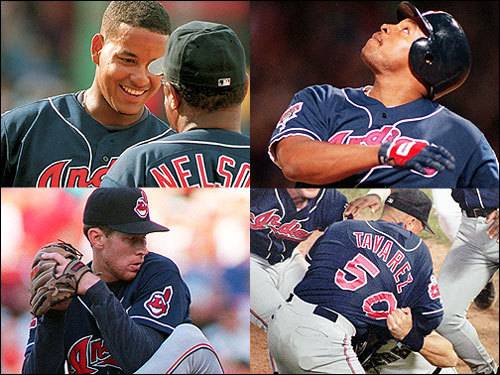 Manny Ramirez (top, left) had his first 30-homer season, but went 0 for 12 against the Red Sox in the ALDS. Belle (top, right) hit an 11th-inning home run to tie Game 1 of the ALDS, prompting the Sox to have his bat examined for cork. The reliever getting in a fight against the Brewers (bottom, right) is Sox pitcher Julian Tavarez, who pitched in all three ALDS games for the Tribe. Orel Hershiser (bottom, left) shut down Boston in Game 2.