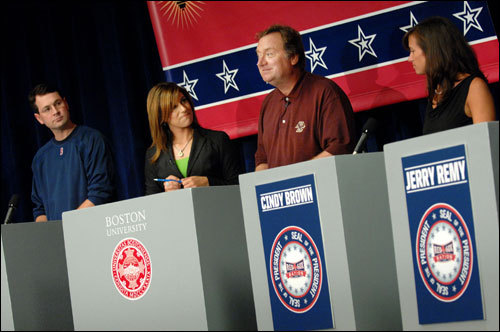 NESN's Tina Cervasio (second left) and Tim Russert of NBC News (center) moderated a discussion among the candidates for the president of Red Sox Nation, as candidates Rob Crawford (left) and Cindy Brown (right) look on at Boston University on Thursday, Sept. 27. (Globe Photo / Wiqan Ang)