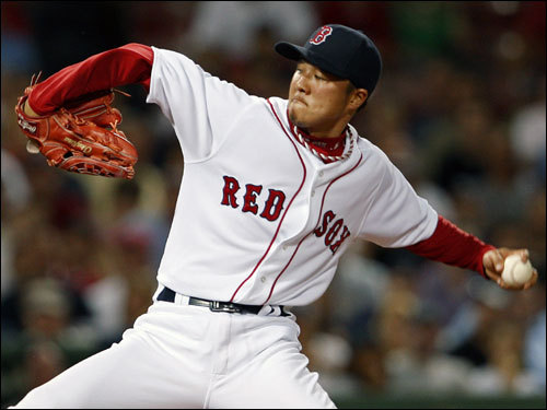 Red Sox reliever Hideki Okajima pitched the seventh inning without giving up a run.