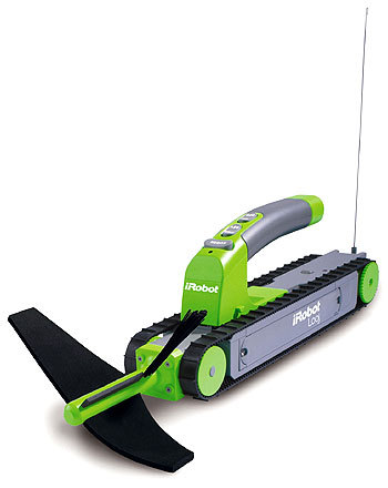 The new Looj Gutter Cleaning Robot is a slim, bright green tank controlled by a remote that comes in its own holster.