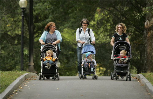 Jennifer Balfour (left) of Somerville and her 18-month-old baby, Calder, Oona Metz (center) of Arlington and her 16-month-old daughter, Lucia, and Colleen Olphert (right) of Medford and her 17-month-old son, Sam Olphert Schwartz, strolled through the Boston Common.