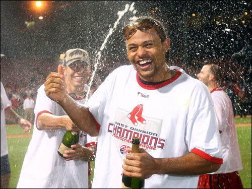 Coco Crisp received a champagne shower.