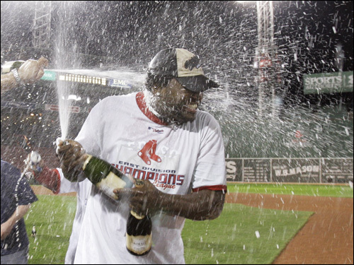 David Ortiz gets sprayed with champagne.