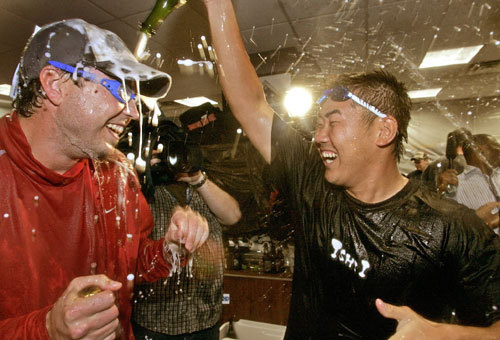 Beckett and Matsuzaka celebrated in the locker room.